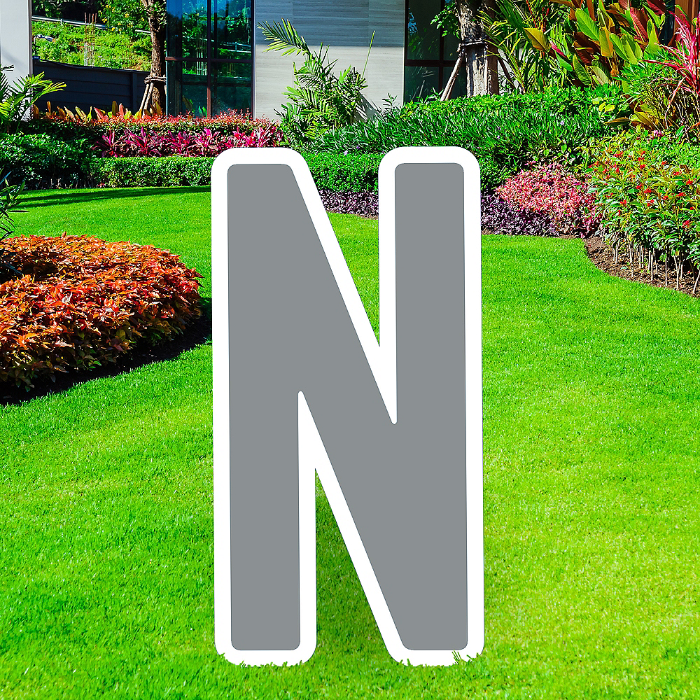 Giant Silver Corrugated Plastic Letter (N) Yard Sign, 30in Image #1