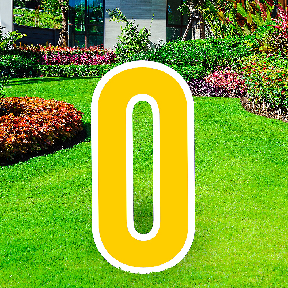 Giant Yellow Corrugated Plastic Letter (O) Yard Sign, 30in Image #1
