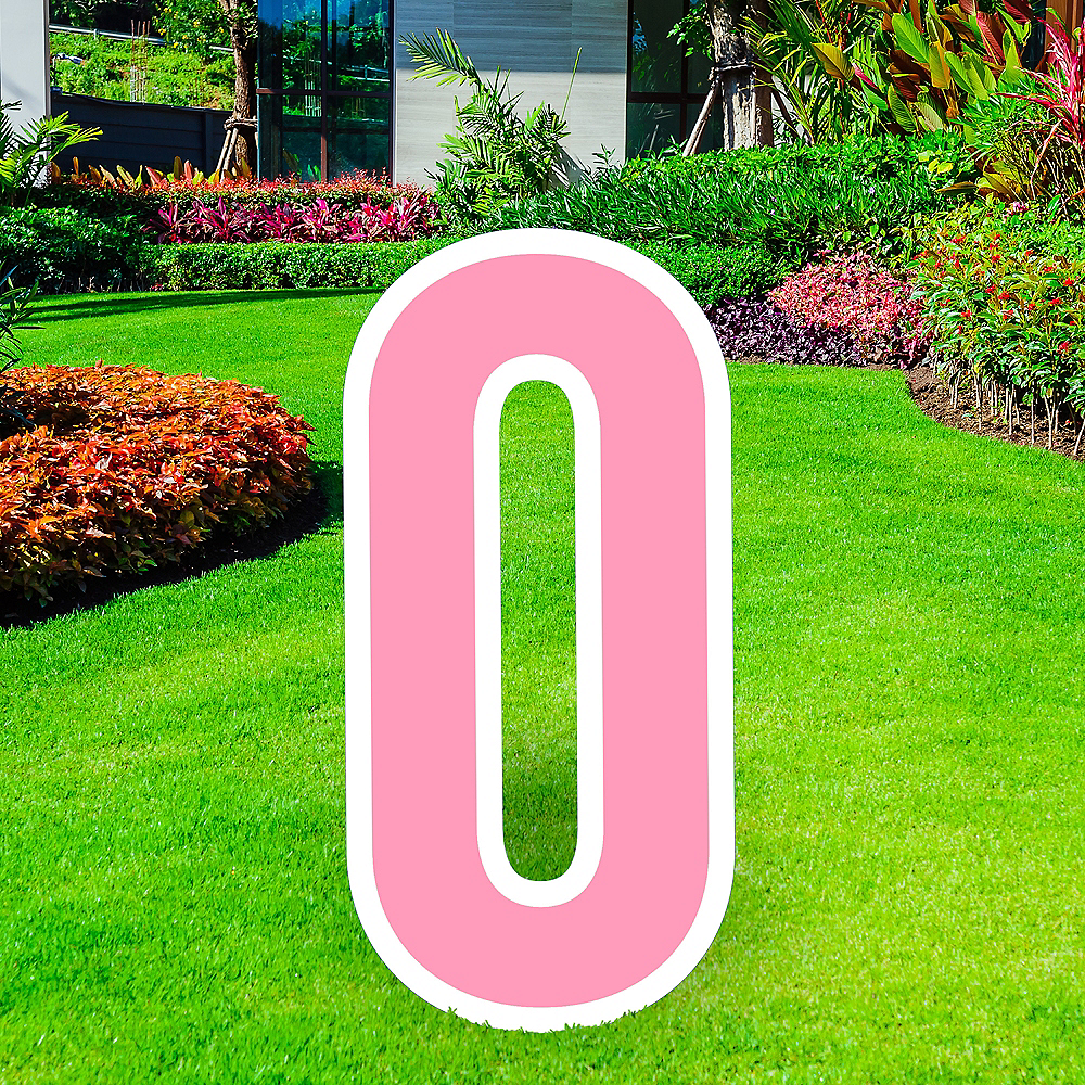 Giant Pink Corrugated Plastic Letter (O) Yard Sign, 30in Image #1