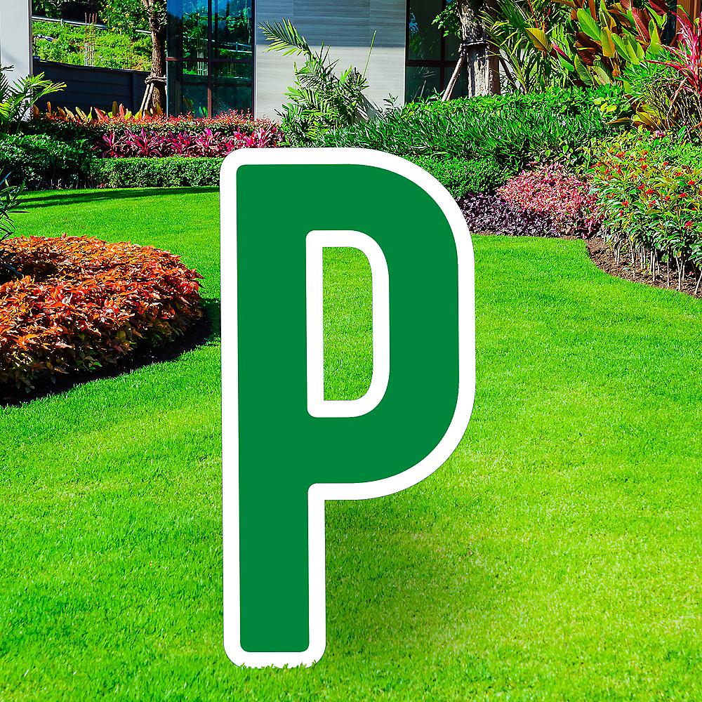 Giant Festive Green Corrugated Plastic Letter (P) Yard Sign, 30in Image #1