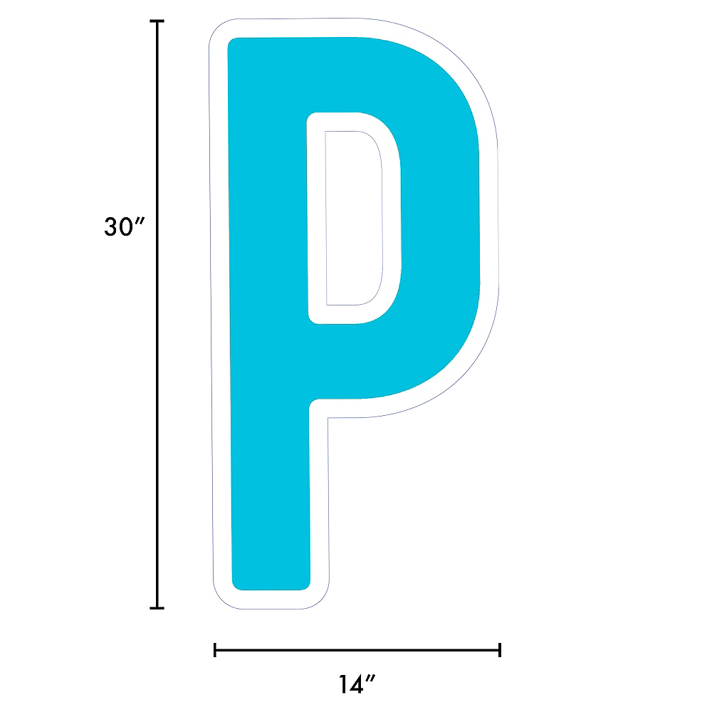 Giant Caribbean Blue Corrugated Plastic Letter (P) Yard Sign, 30in Image #2