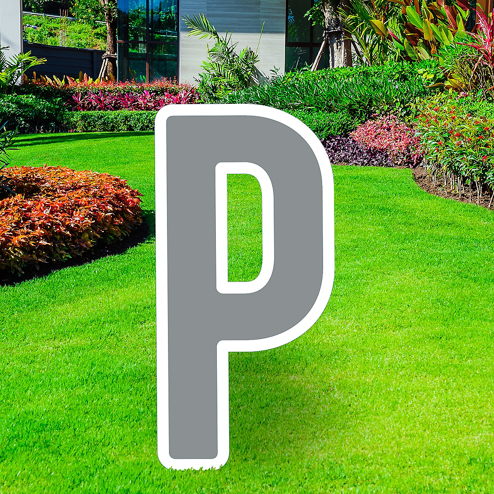 Giant Silver Corrugated Plastic Letter (P) Yard Sign, 30in Image #1
