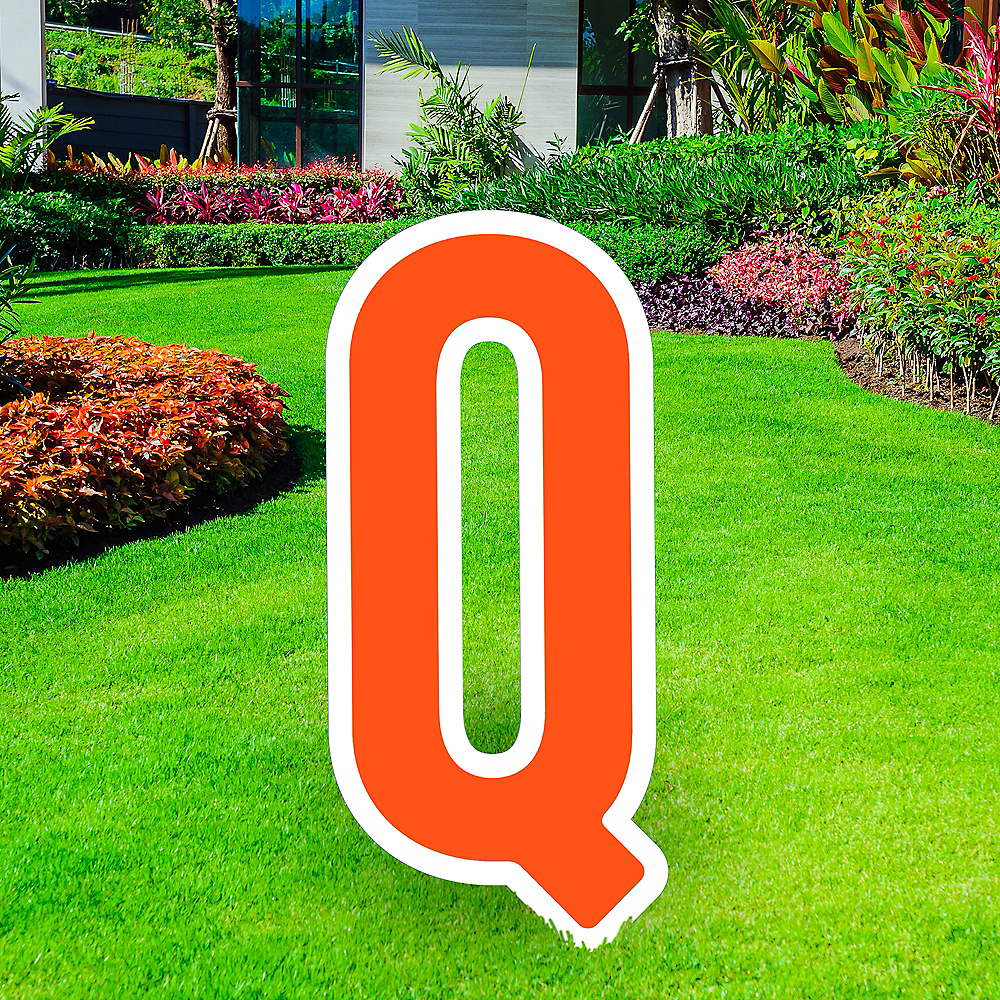 Giant Orange Corrugated Plastic Letter (Q) Yard Sign, 30in Image #1