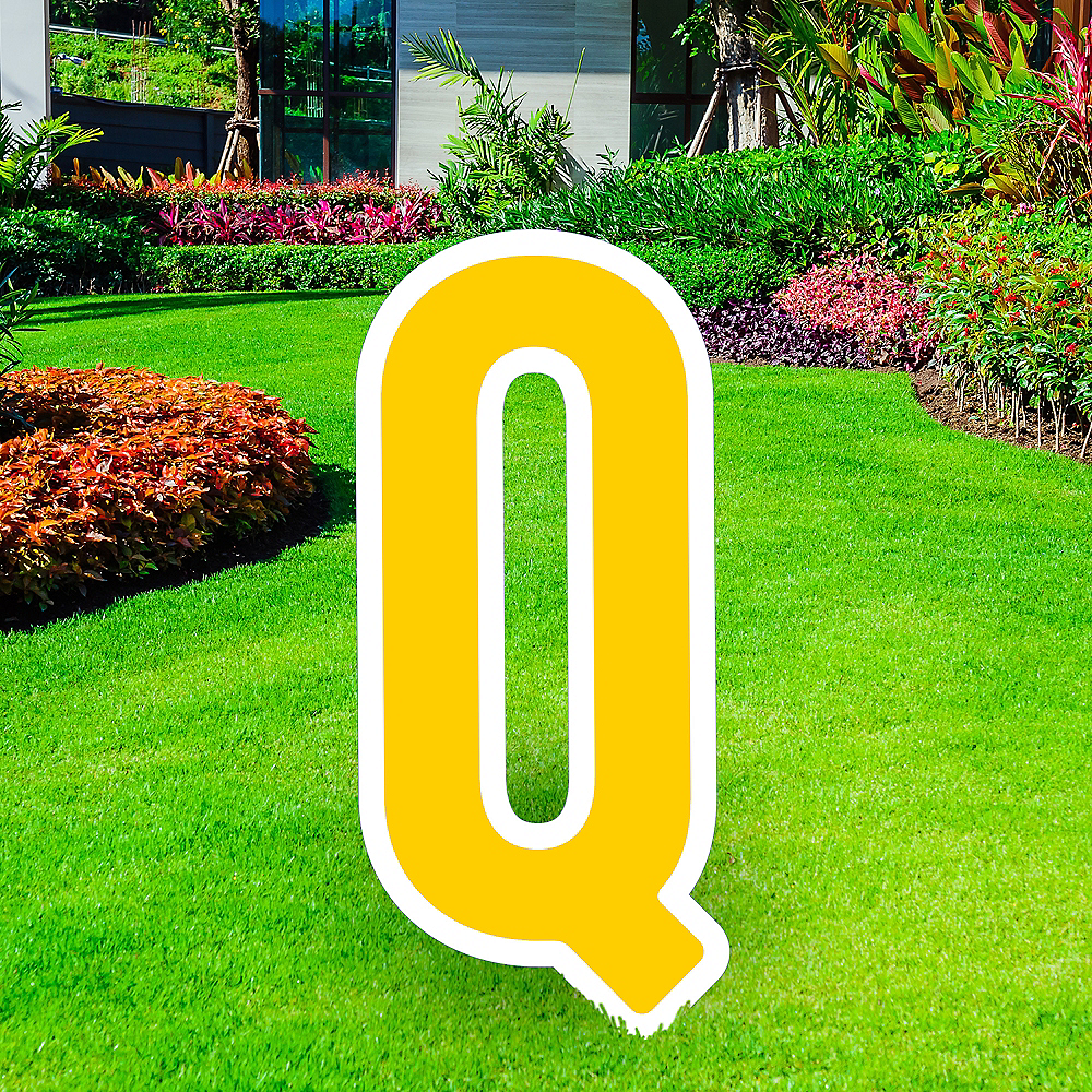 Giant Yellow Corrugated Plastic Letter (Q) Yard Sign, 30in Image #1