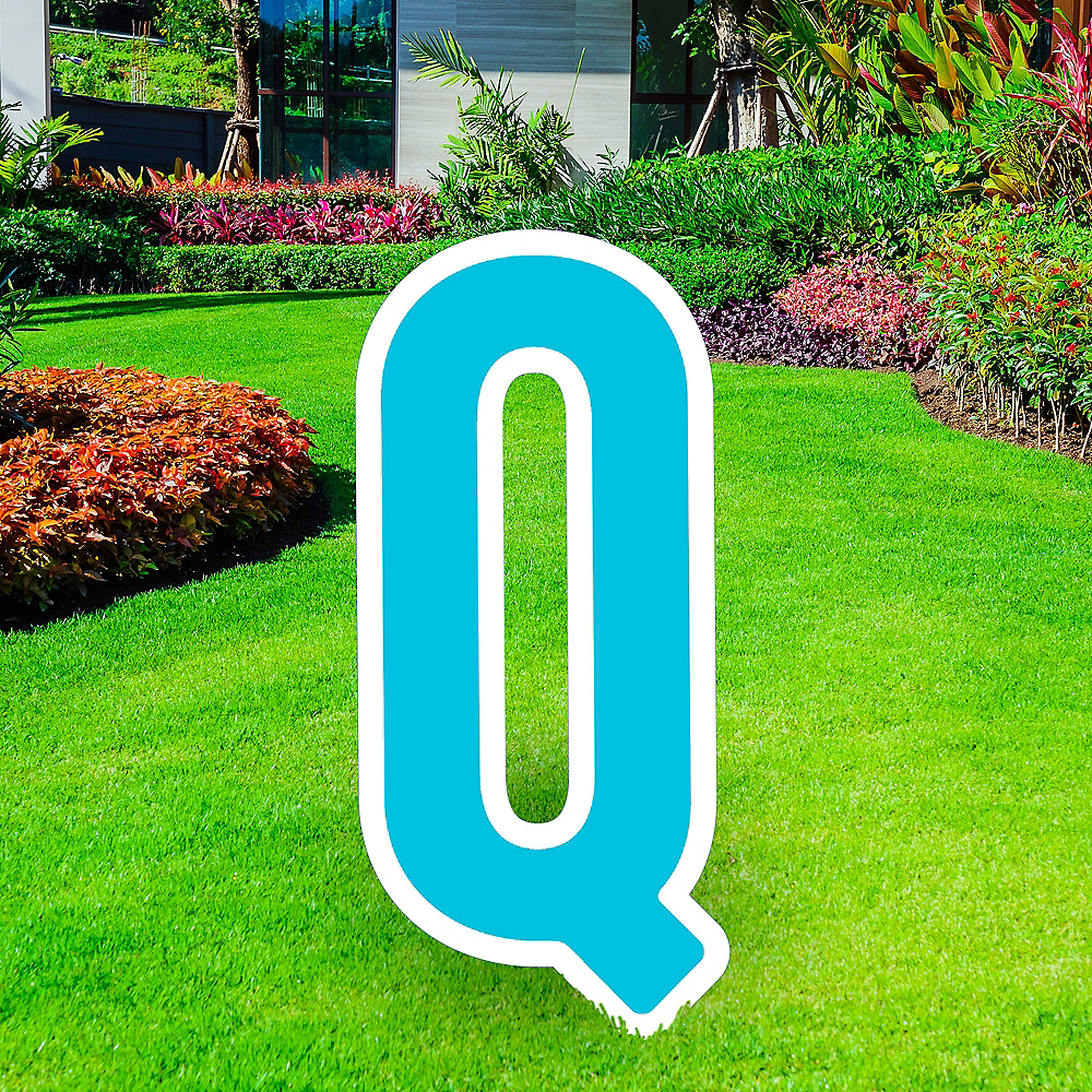 Giant Caribbean Blue Corrugated Plastic Letter (Q) Yard Sign, 30in Image #1
