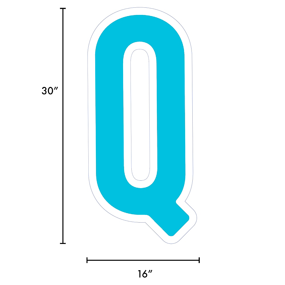 Giant Caribbean Blue Corrugated Plastic Letter (Q) Yard Sign, 30in Image #2