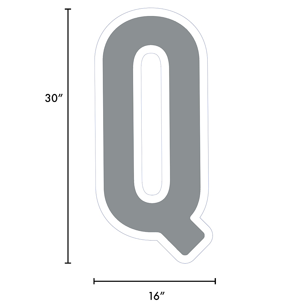 Nav Item for Giant Silver Corrugated Plastic Letter (Q) Yard Sign, 30in Image #2