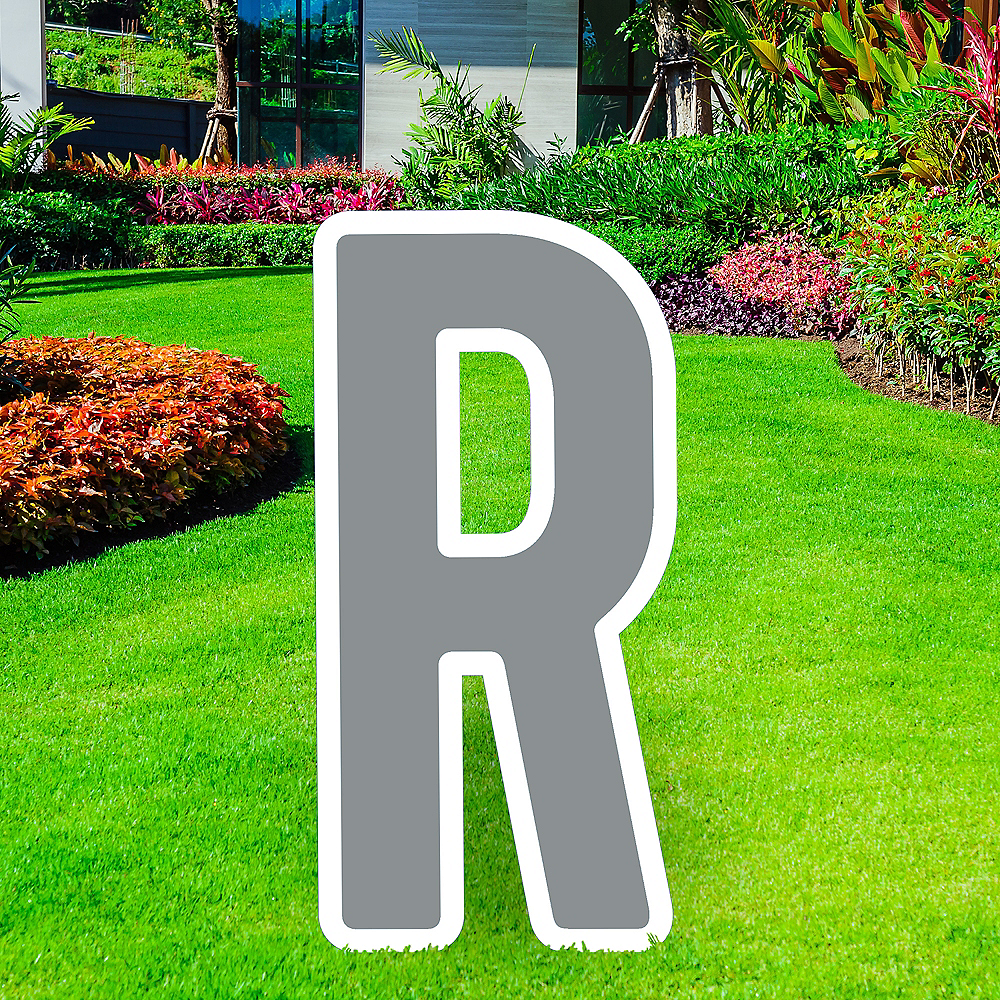 Giant Silver Corrugated Plastic Letter (R) Yard Sign, 30in Image #1