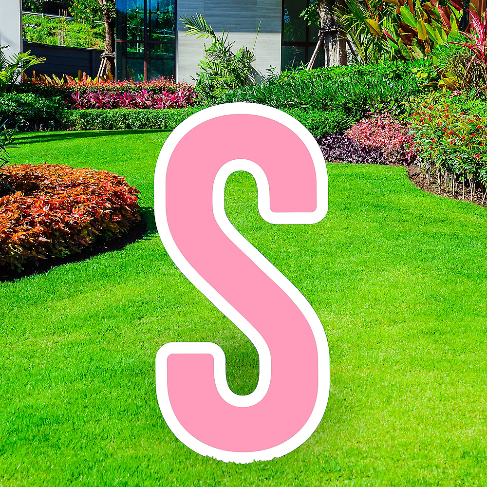 Giant Pink Corrugated Plastic Letter (S) Yard Sign, 30in Image #1