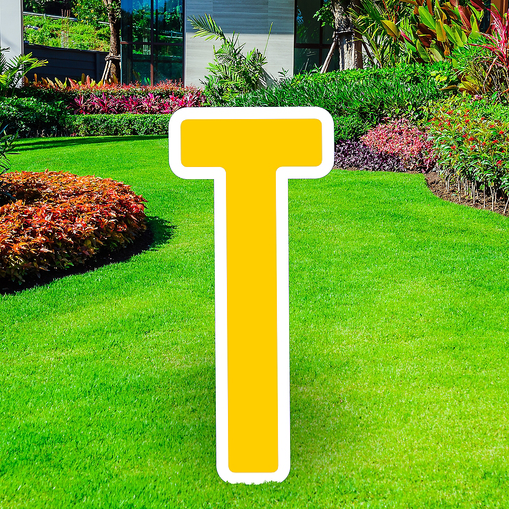 Giant Yellow Corrugated Plastic Letter (T) Yard Sign, 30in Image #1
