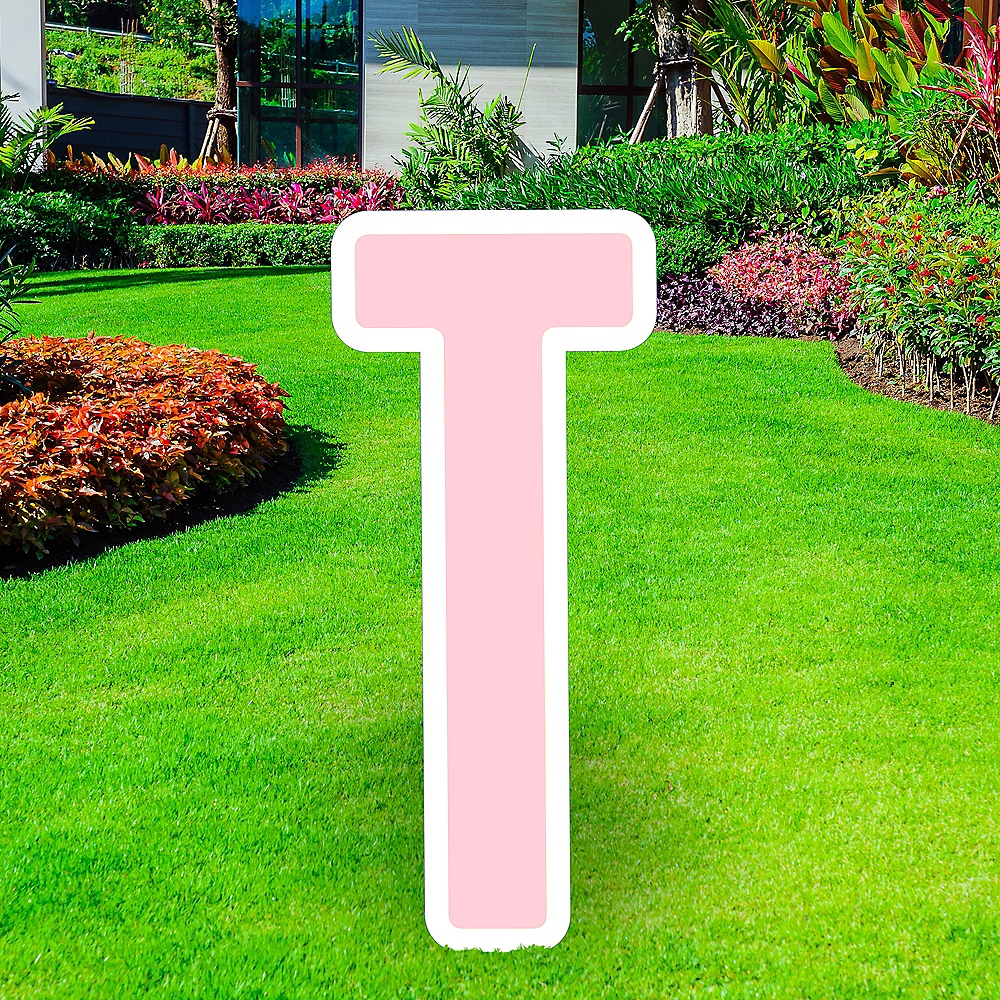 Giant Blush Pink Corrugated Plastic Letter (T) Yard Sign, 30in Image #1