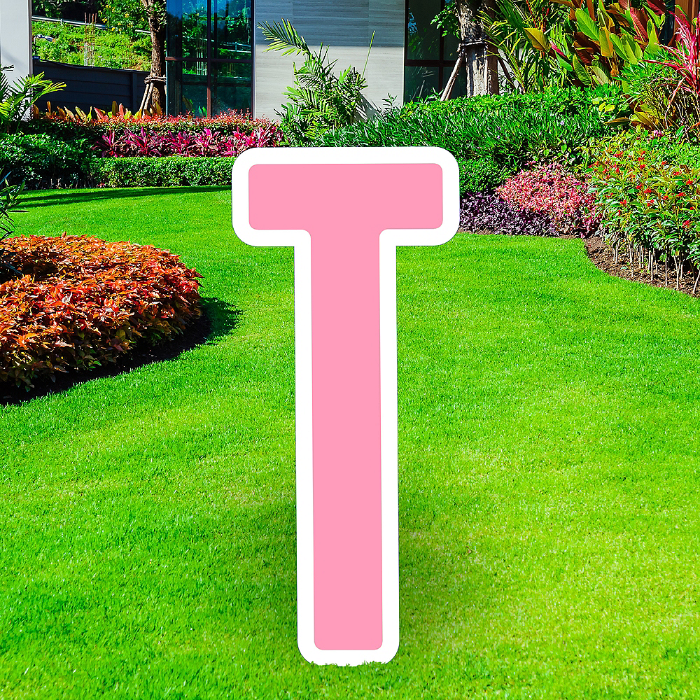 Giant Pink Corrugated Plastic Letter (T) Yard Sign, 30in Image #1