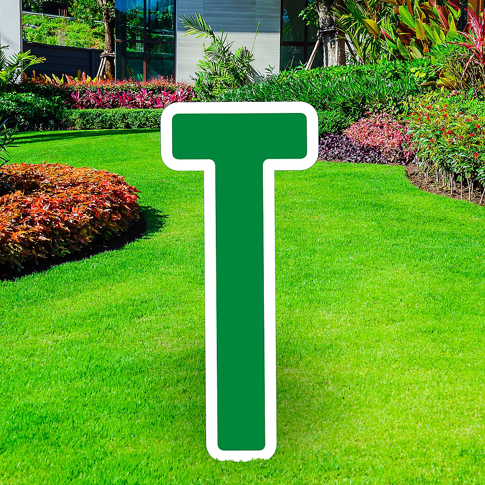 Giant Festive Green Corrugated Plastic Letter (T) Yard Sign, 30in Image #1