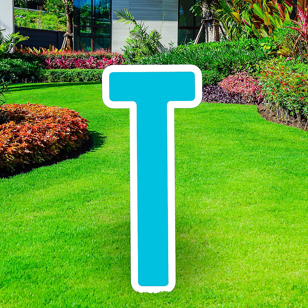 Giant Caribbean Blue Corrugated Plastic Letter (T) Yard Sign, 30in Image #1