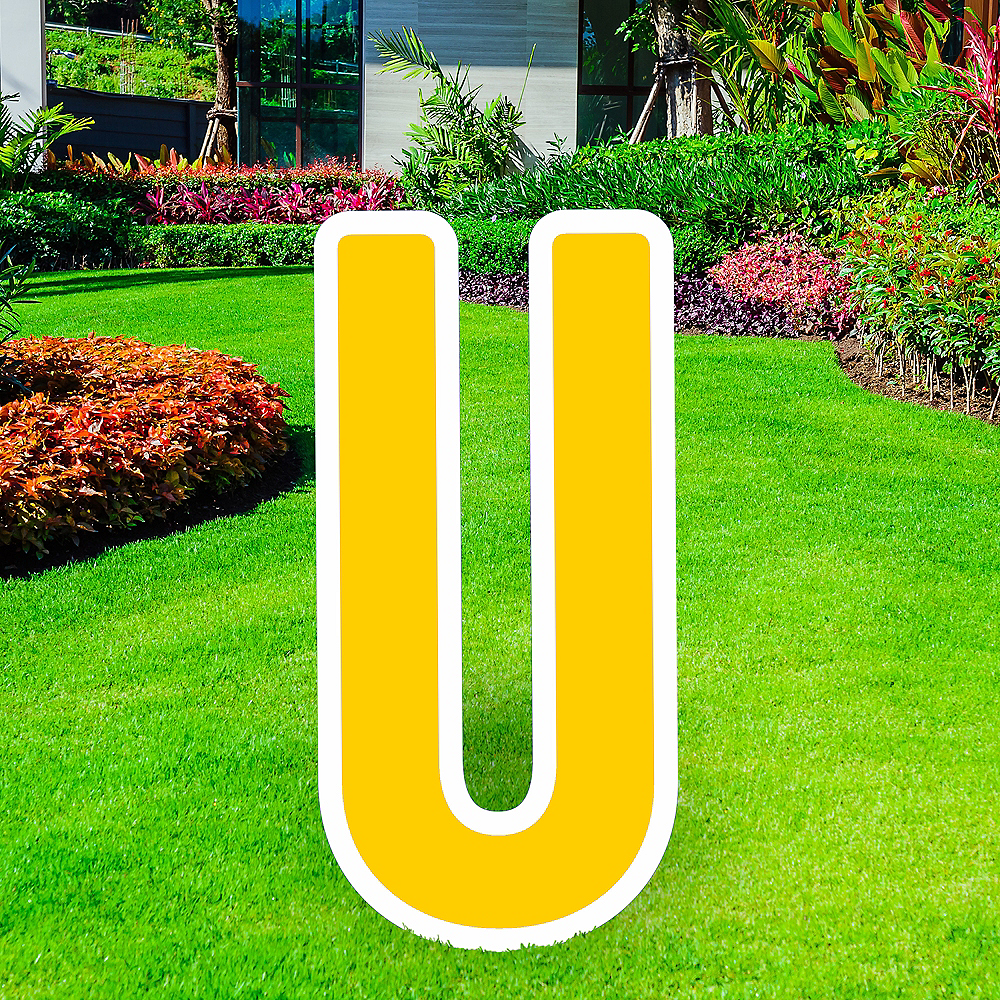 Giant Yellow Corrugated Plastic Letter (U) Yard Sign, 30in Image #1