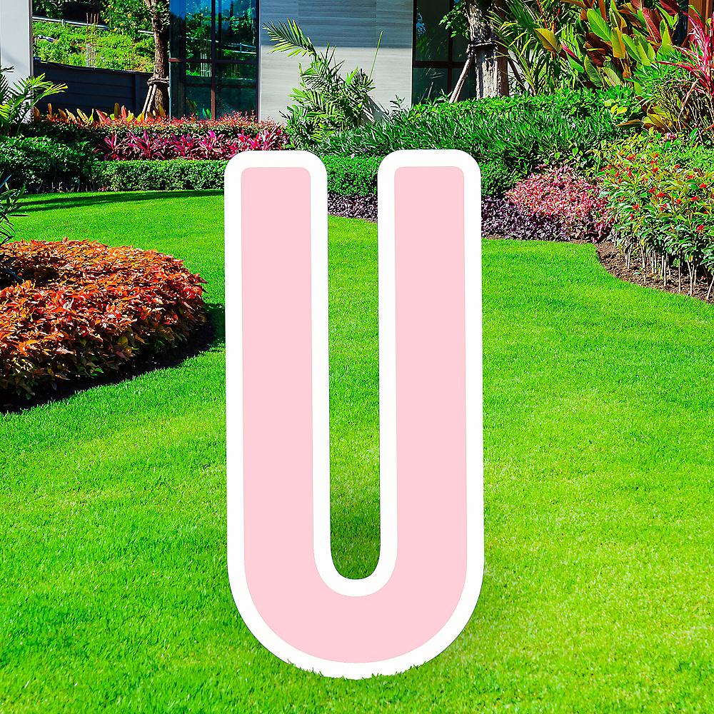 Giant Blush Pink Corrugated Plastic Letter (U) Yard Sign, 30in Image #1