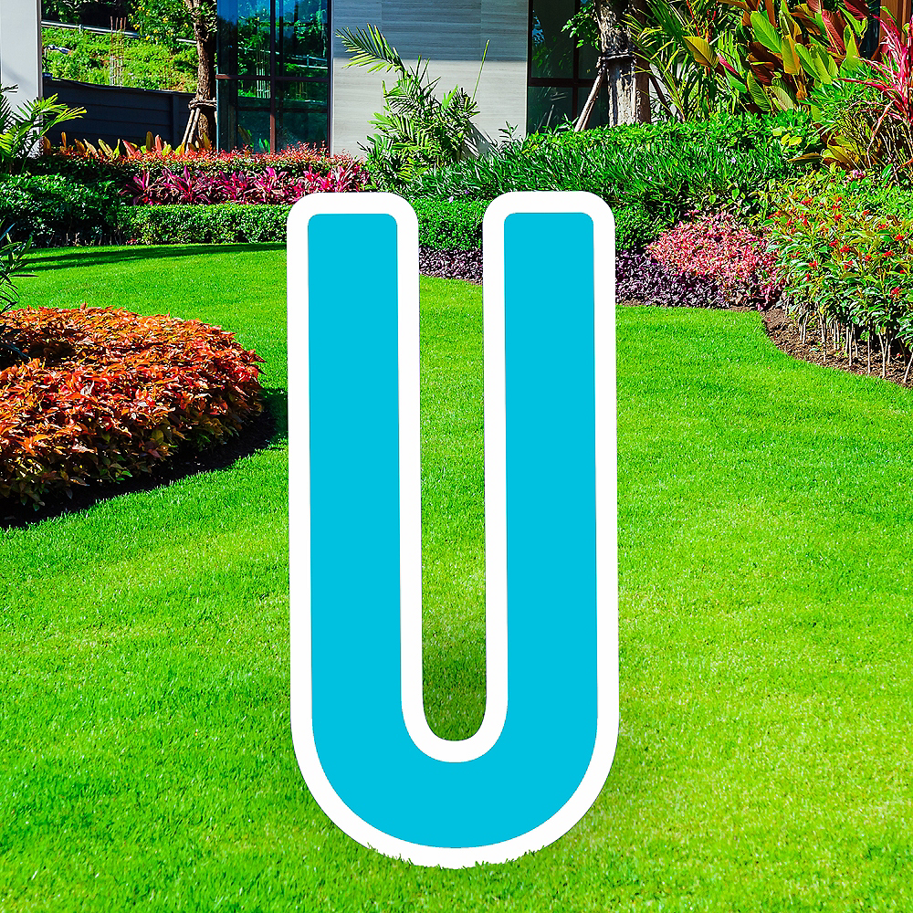 Giant Caribbean Blue Corrugated Plastic Letter (U) Yard Sign, 30in Image #1