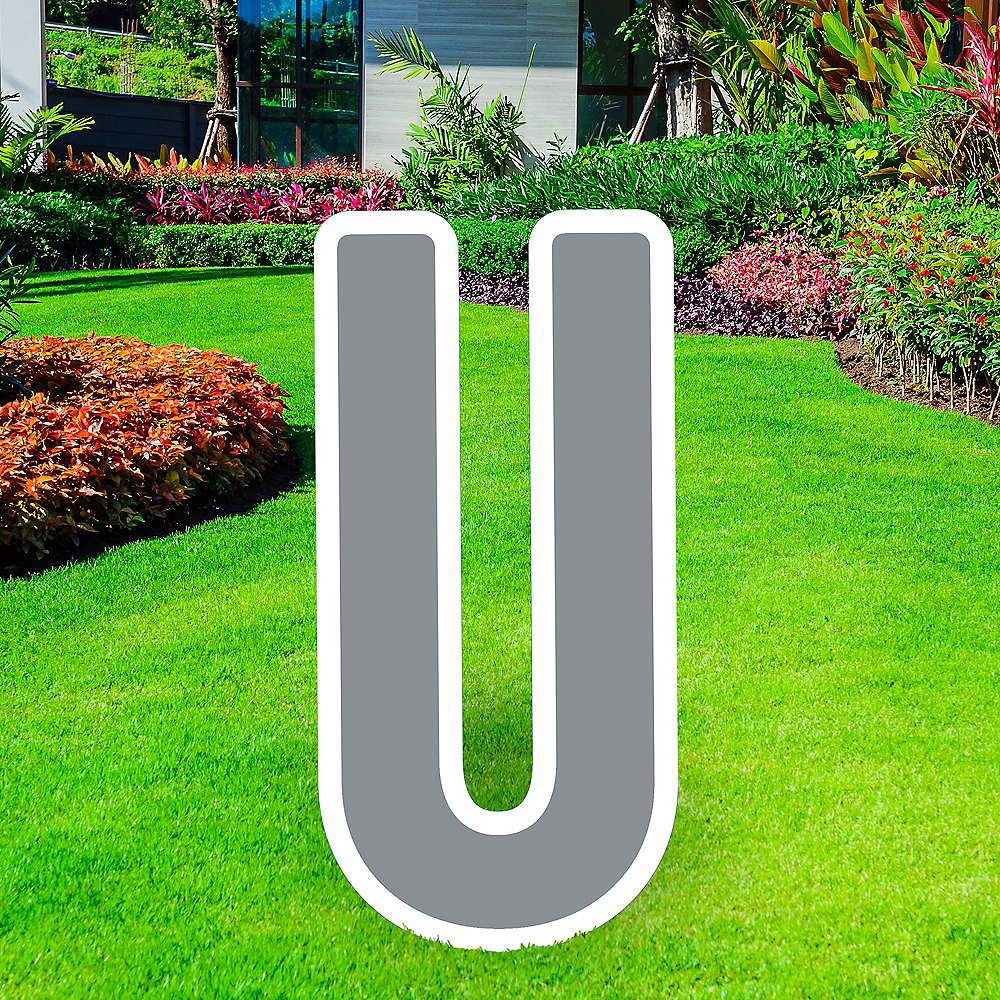 Giant Silver Corrugated Plastic Letter (U) Yard Sign, 30in Image #1