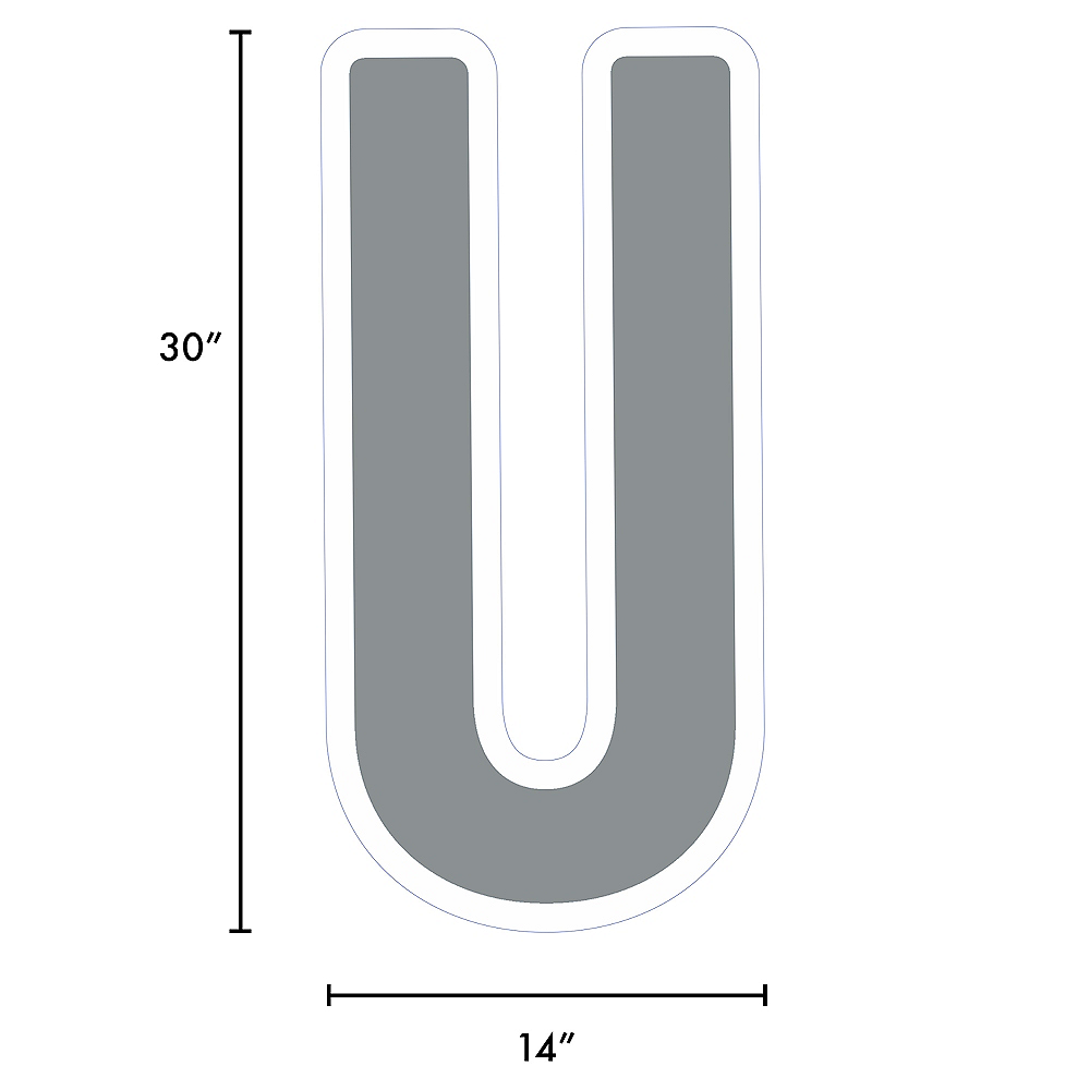 Giant Silver Corrugated Plastic Letter (U) Yard Sign, 30in Image #2