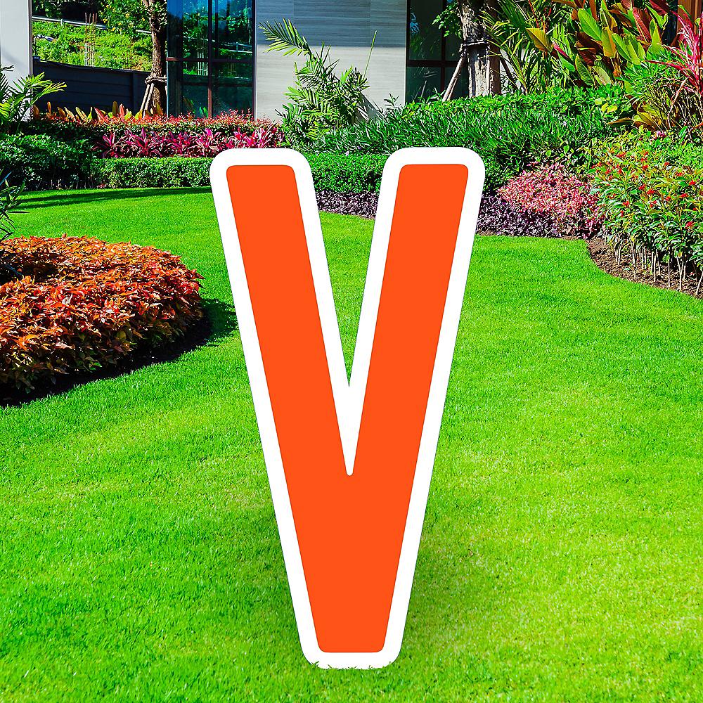 Giant Orange Corrugated Plastic Letter (V) Yard Sign, 30in Image #1