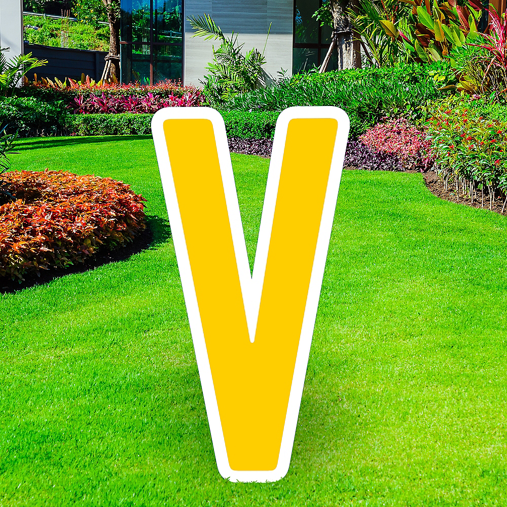 Giant Yellow Corrugated Plastic Letter (V) Yard Sign, 30in Image #1