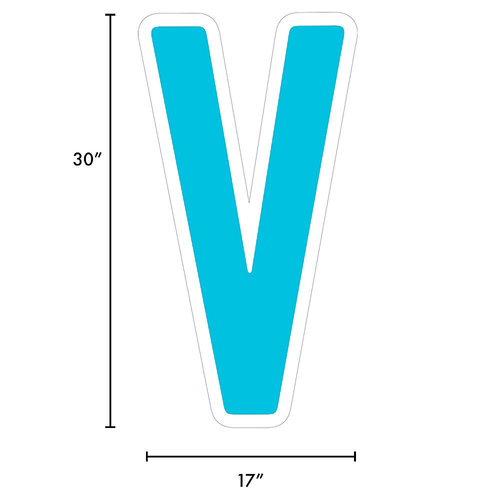 Giant Caribbean Blue Corrugated Plastic Letter (V) Yard Sign, 30in Image #2