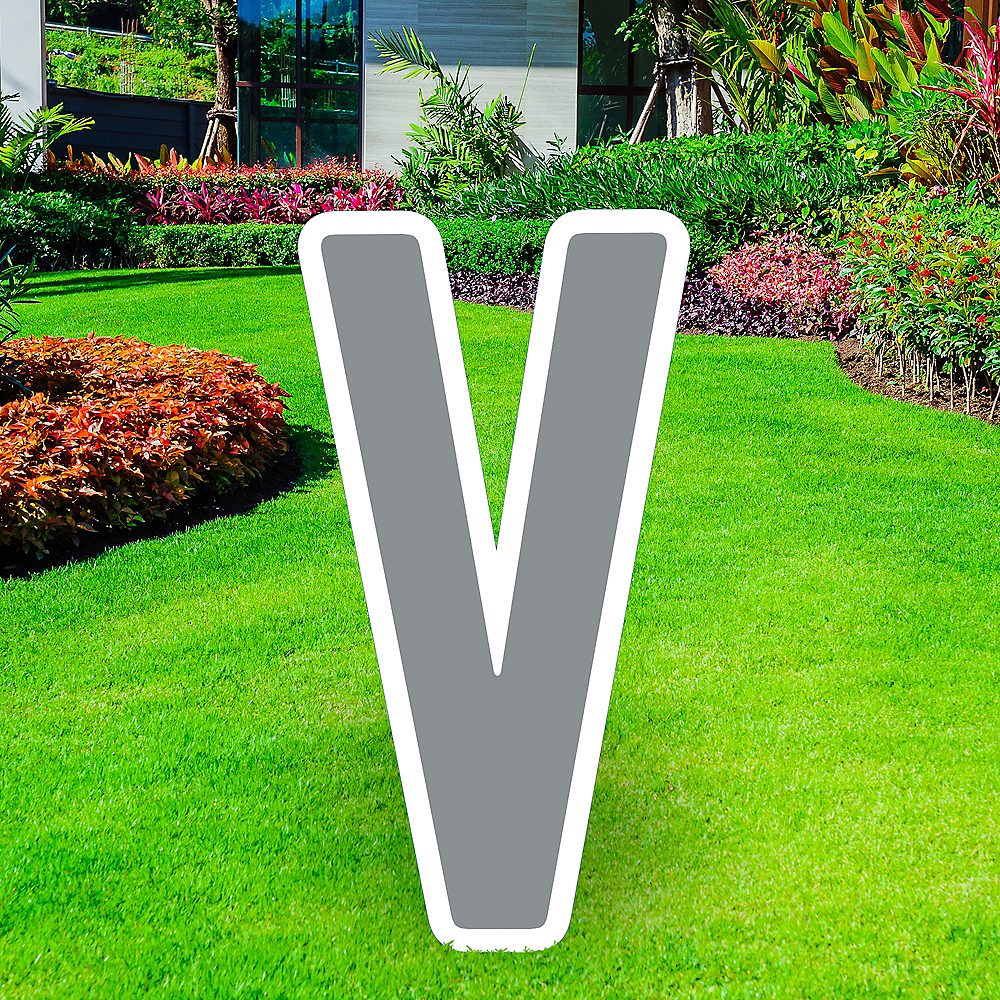 Giant Silver Corrugated Plastic Letter (V) Yard Sign, 30in Image #1