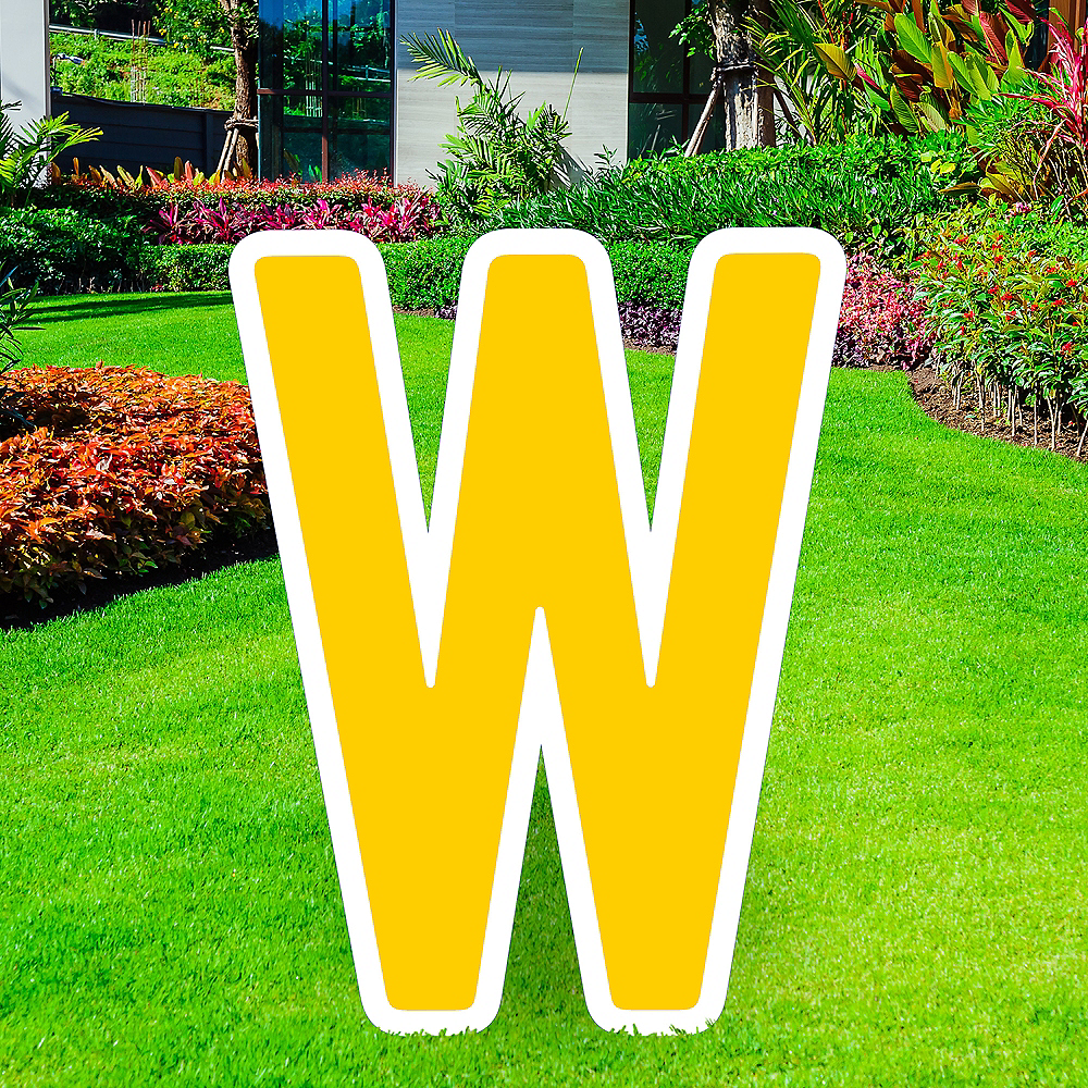 Giant Yellow Corrugated Plastic Letter (W) Yard Sign, 30in Image #1