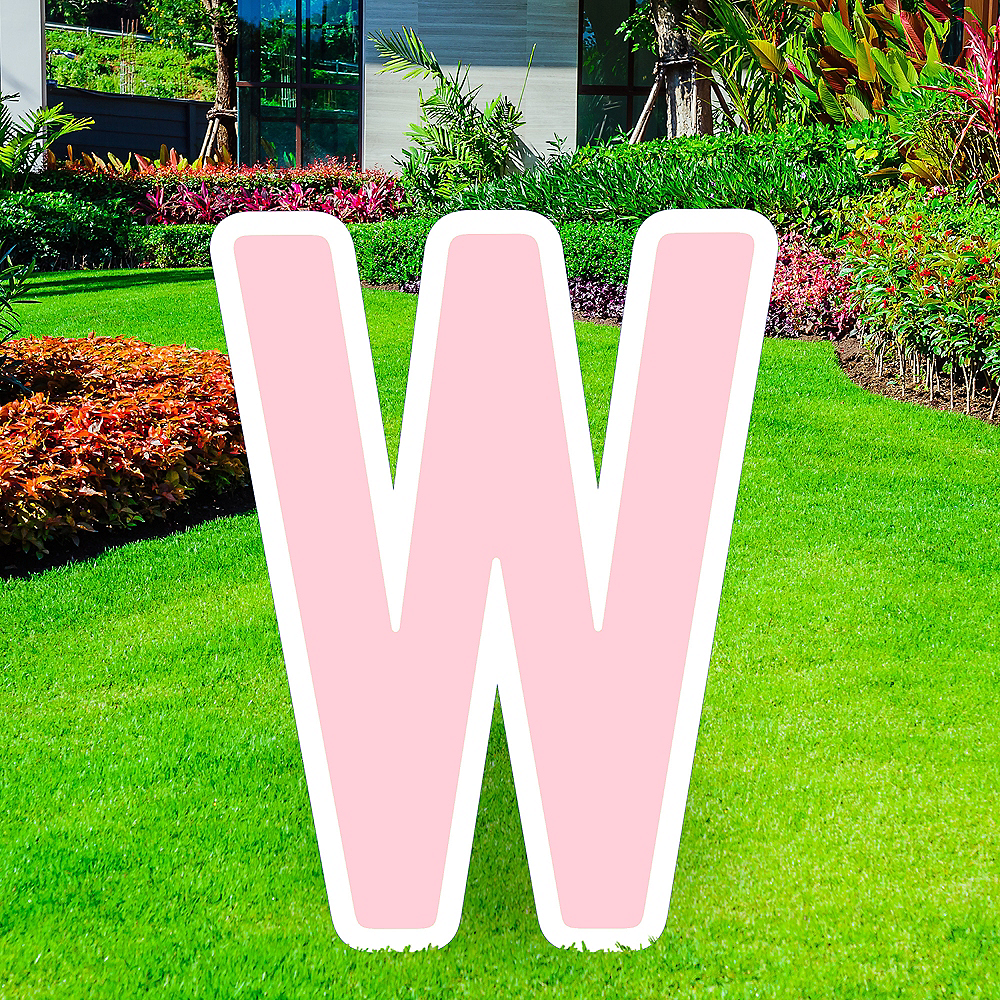 Giant Blush Pink Corrugated Plastic Letter (W) Yard Sign, 30in Image #1