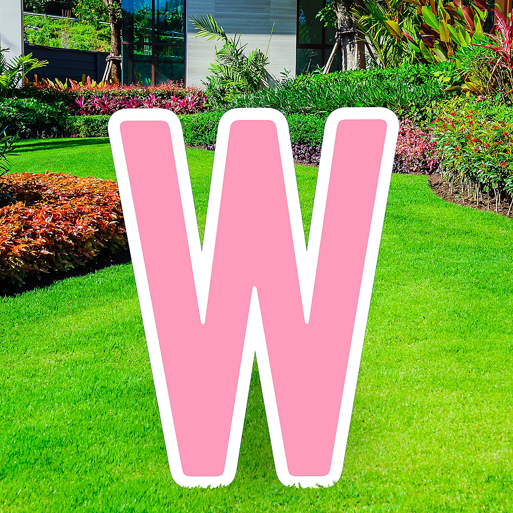 Giant Pink Corrugated Plastic Letter (W) Yard Sign, 30in Image #1