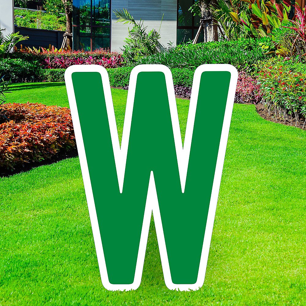 Giant Festive Green Corrugated Plastic Letter (W) Yard Sign, 30in Image #1
