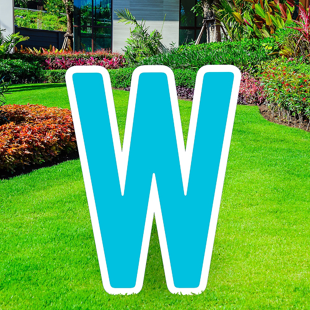 Giant Caribbean Blue Corrugated Plastic Letter (W) Yard Sign, 30in Image #1