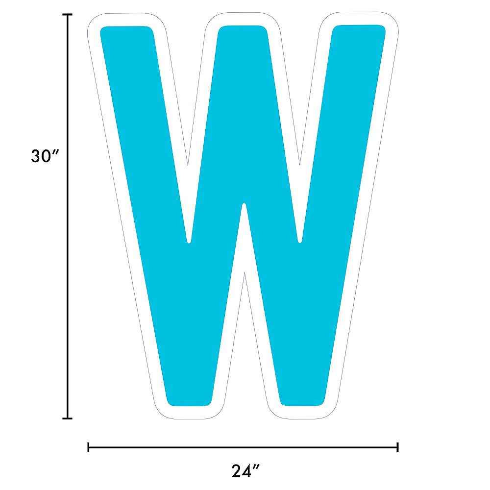Giant Caribbean Blue Corrugated Plastic Letter (W) Yard Sign, 30in Image #2