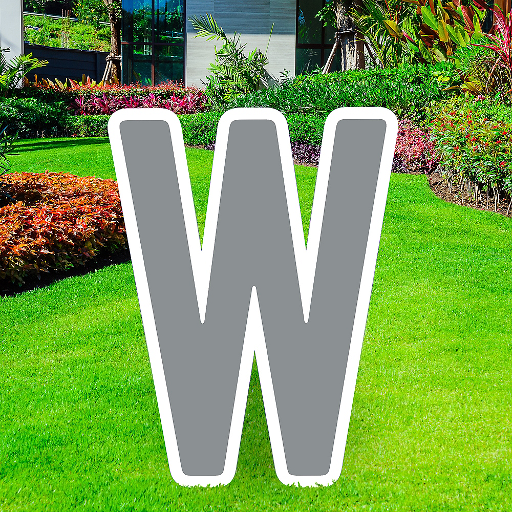 Giant Silver Corrugated Plastic Letter (W) Yard Sign, 30in Image #1