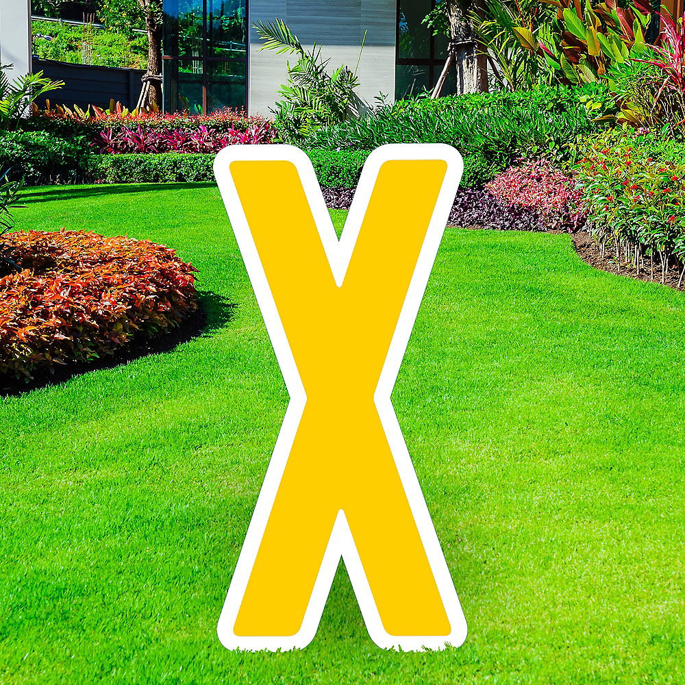 Giant Yellow Corrugated Plastic Letter (X) Yard Sign, 30in Image #1