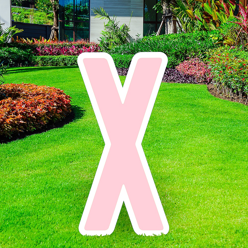 Giant Blush Pink Corrugated Plastic Letter (X) Yard Sign, 30in Image #1