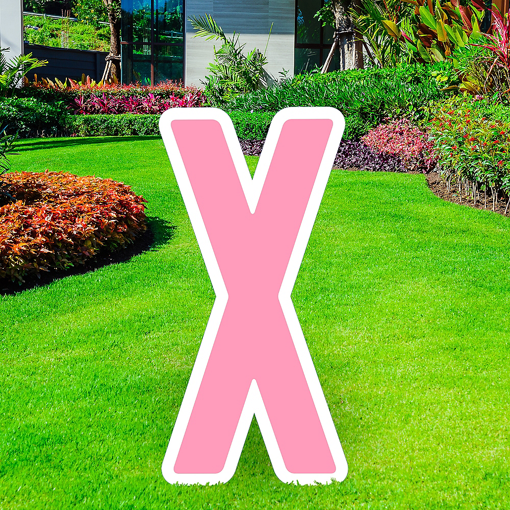 Giant Pink Corrugated Plastic Letter (X) Yard Sign, 30in Image #1