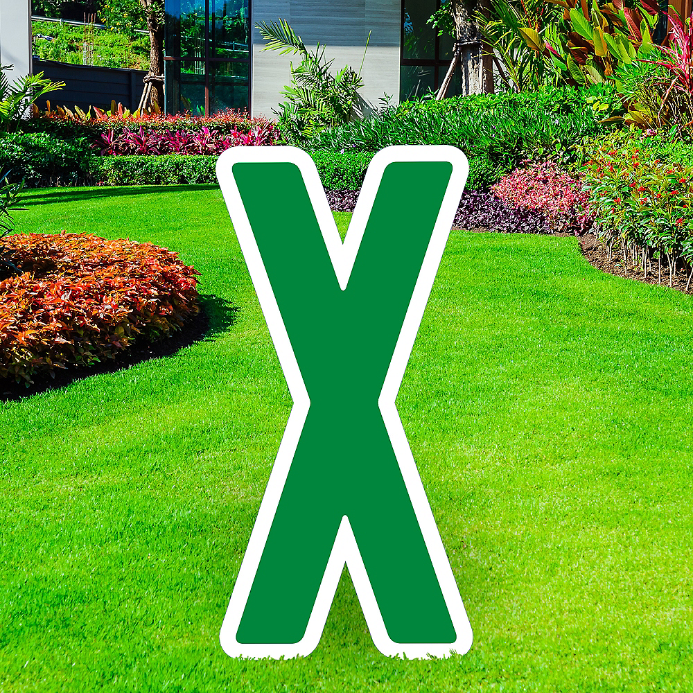 Giant Festive Green Corrugated Plastic Letter (X) Yard Sign, 30in Image #1