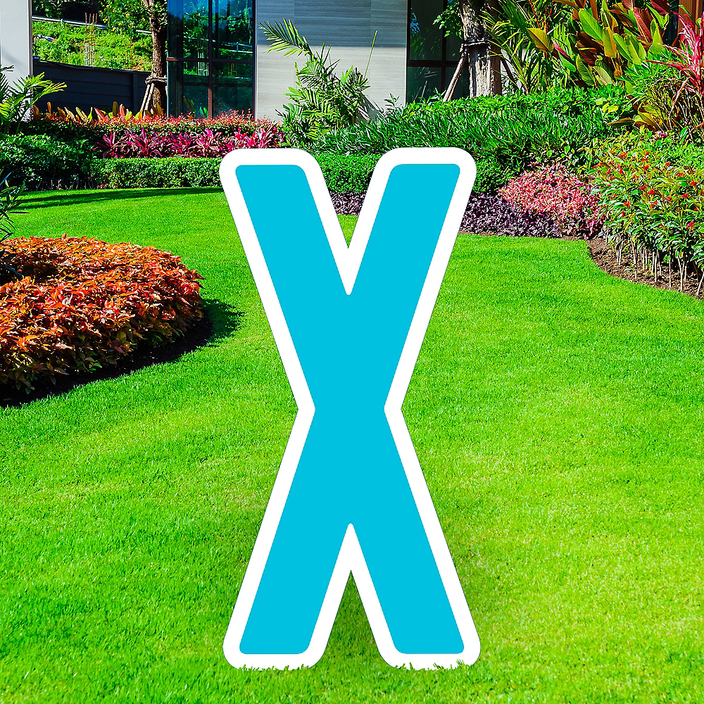 Giant Caribbean Blue Corrugated Plastic Letter (X) Yard Sign, 30in Image #1
