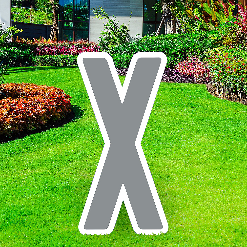 Giant Silver Corrugated Plastic Letter (X) Yard Sign, 30in Image #1
