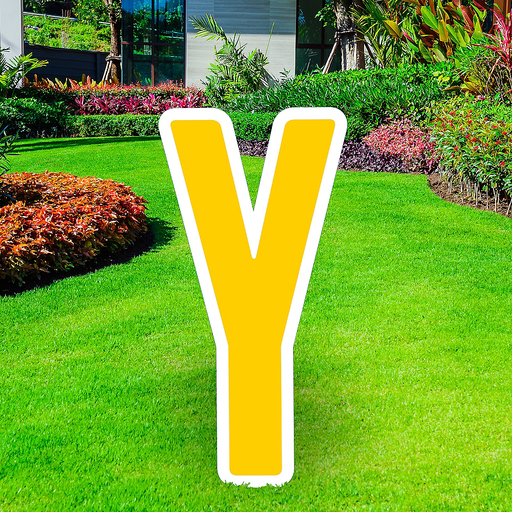 Giant Yellow Corrugated Plastic Letter (Y) Yard Sign, 30in Image #1