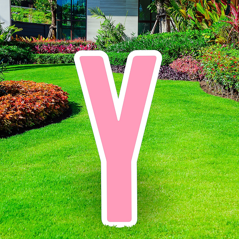 Giant Pink Corrugated Plastic Letter (Y) Yard Sign, 30in Image #1