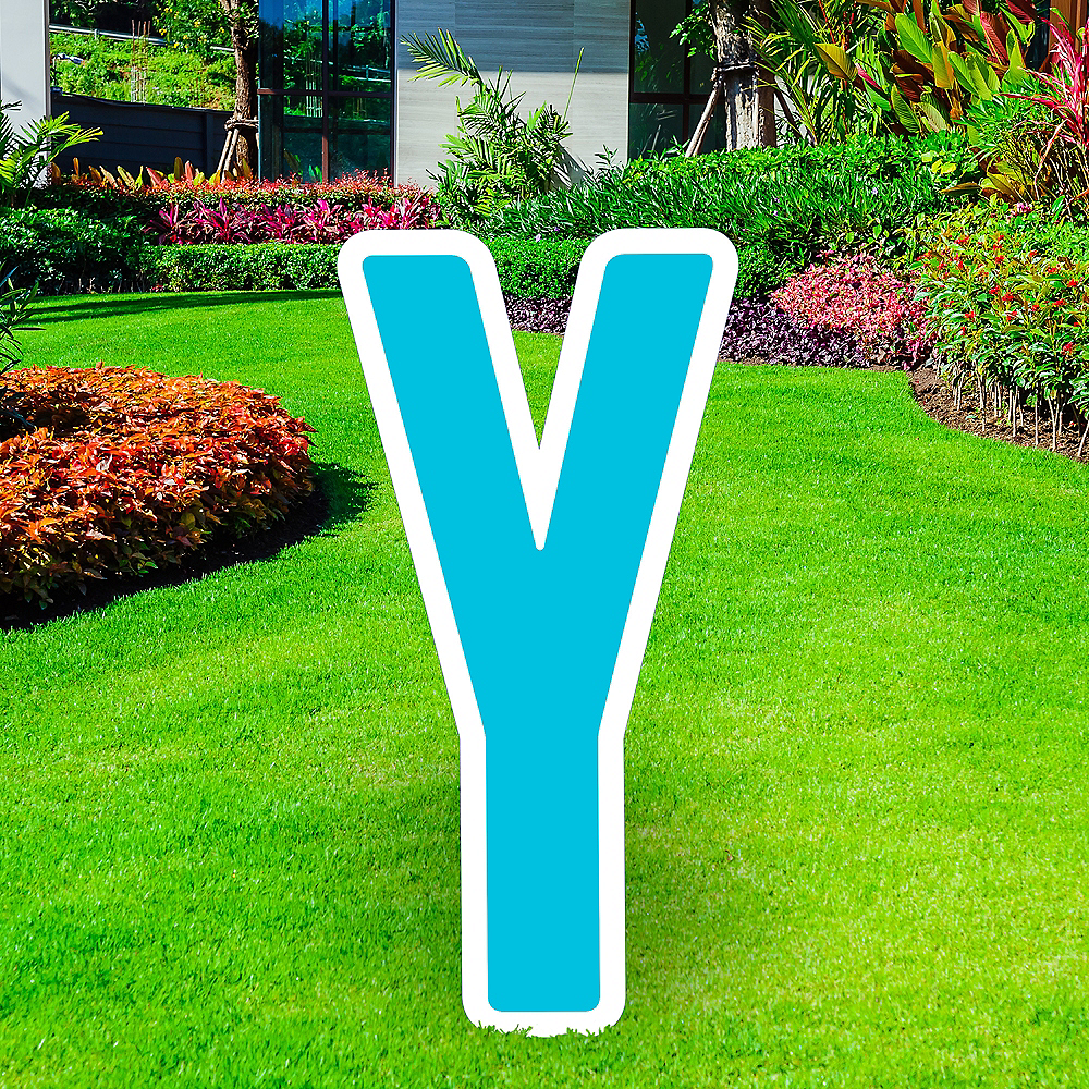 Giant Caribbean Blue Corrugated Plastic Letter (Y) Yard Sign, 30in Image #1