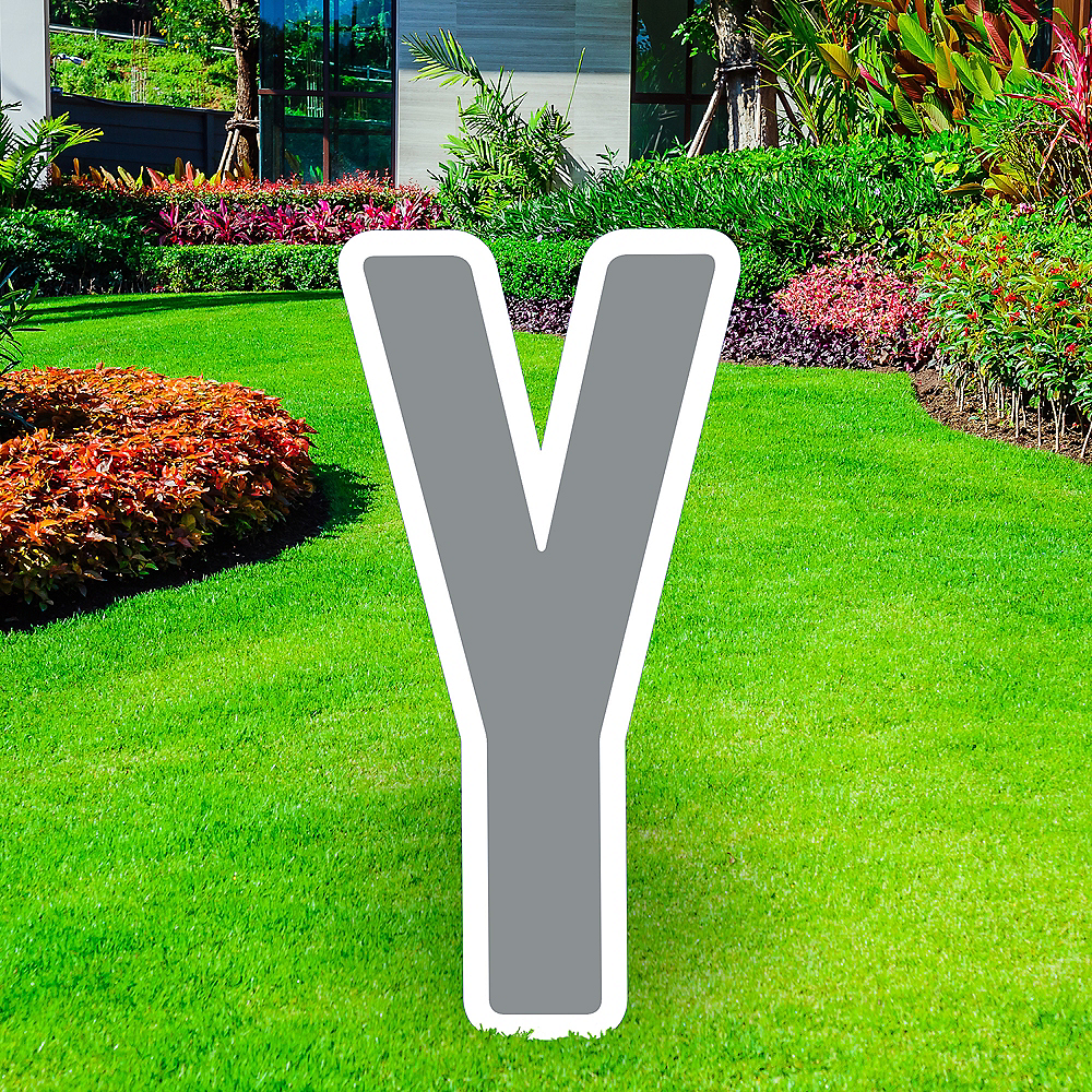 Giant Silver Corrugated Plastic Letter (Y) Yard Sign, 30in Image #1