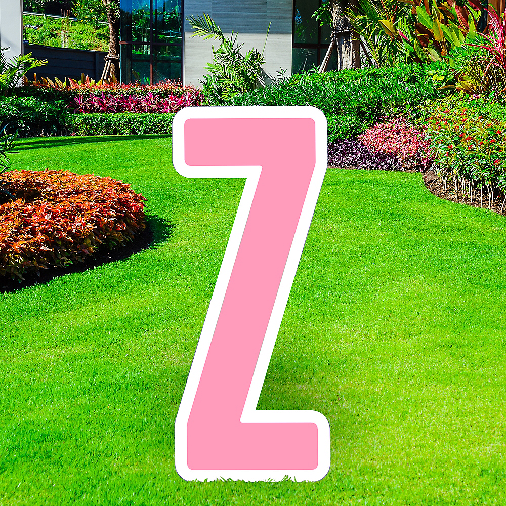 Giant Pink Corrugated Plastic Letter (Z) Yard Sign, 30in Image #1