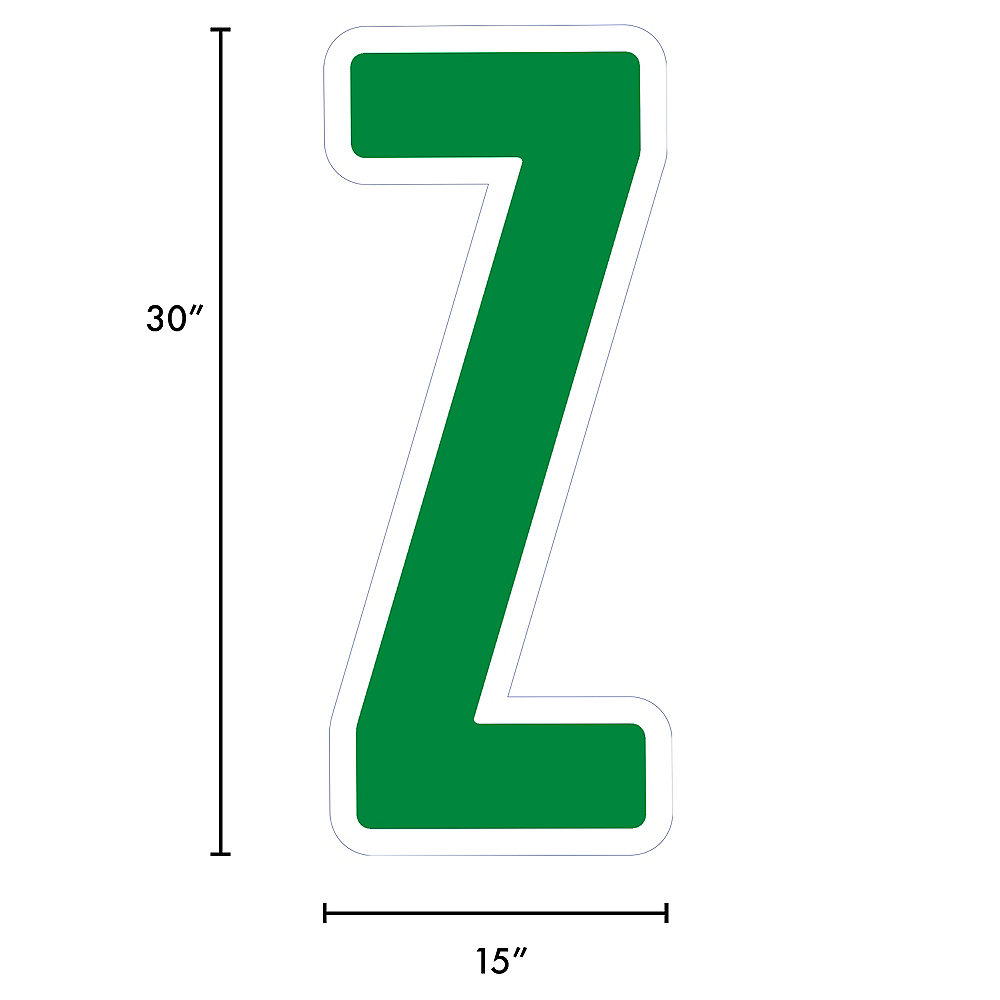 Giant Festive Green Corrugated Plastic Letter (Z) Yard Sign, 30in Image #2