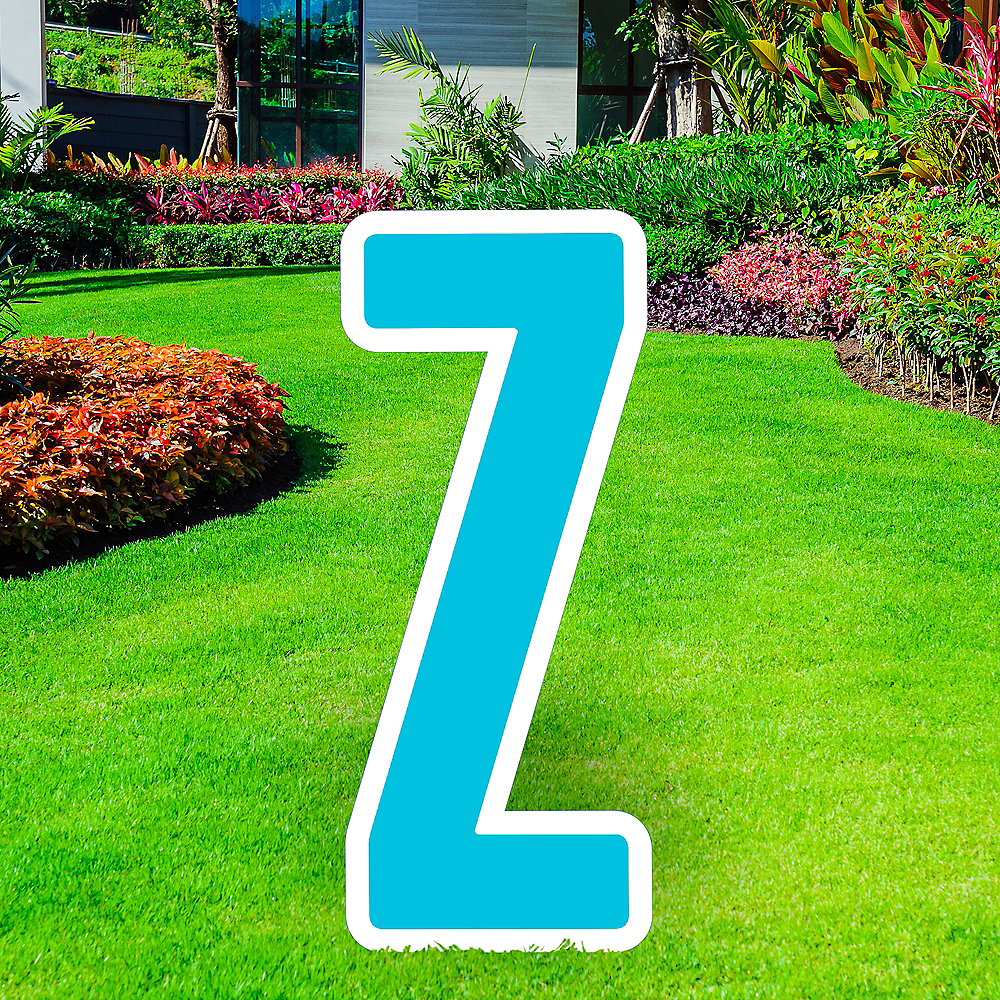Giant Caribbean Blue Corrugated Plastic Letter (Z) Yard Sign, 30in Image #1
