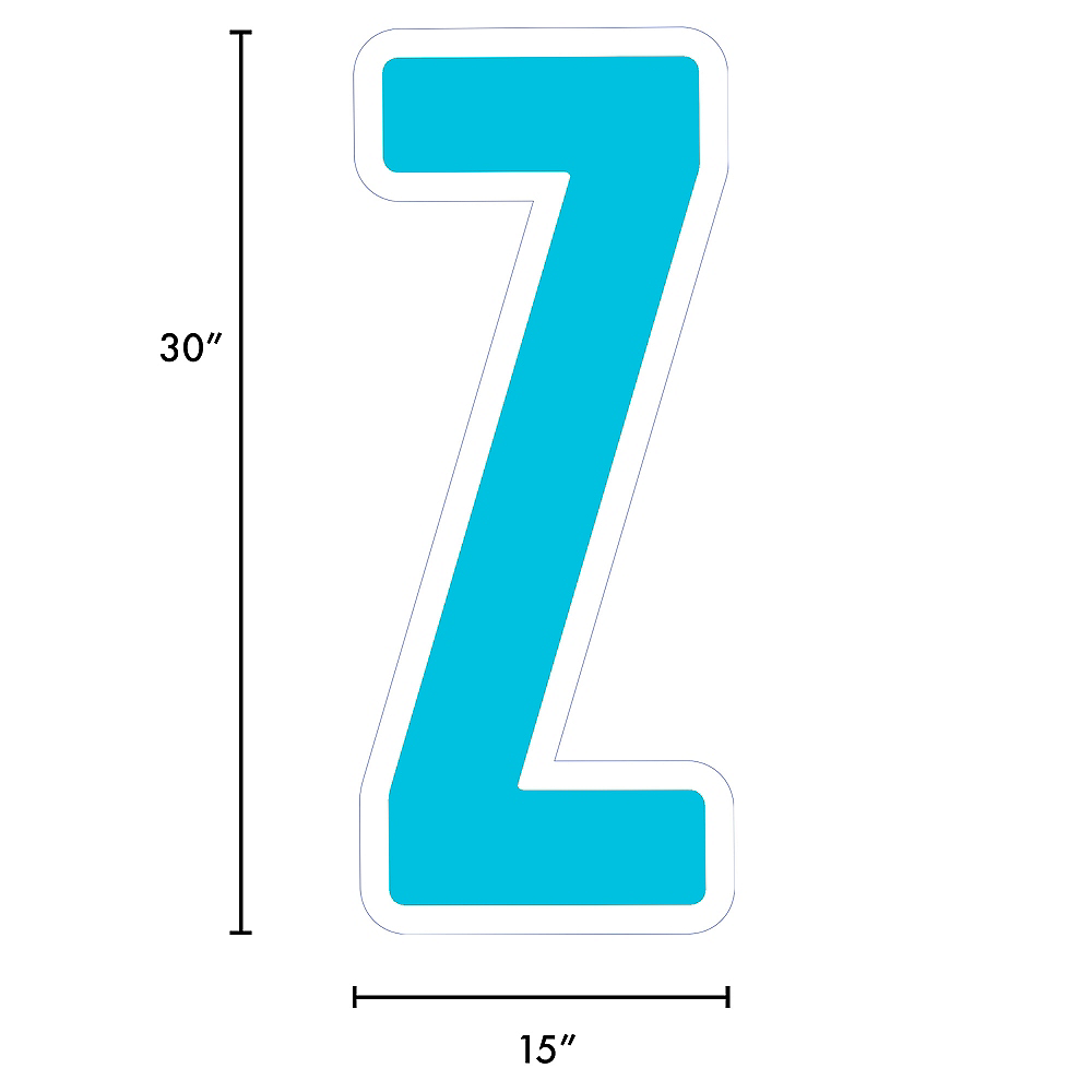 Giant Caribbean Blue Corrugated Plastic Letter (Z) Yard Sign, 30in Image #2