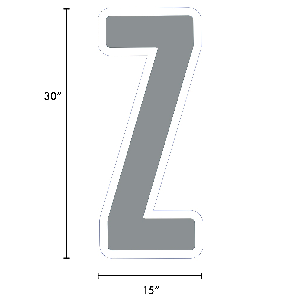Giant Silver Corrugated Plastic Letter (Z) Yard Sign, 30in Image #2