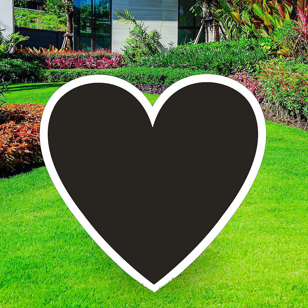 Giant Black Corrugated Plastic Heart Yard Sign, 26in Image #1